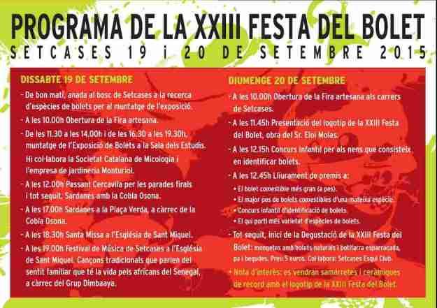 XXIIIa Festa del Bolet – Setcases 2015 PROGRAMA