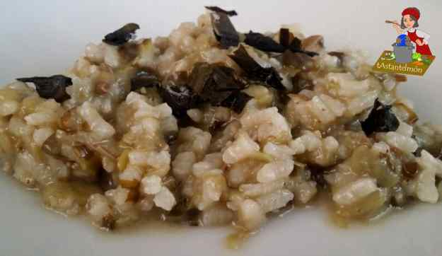 Arròs melós d'alga wakame i tirabecs