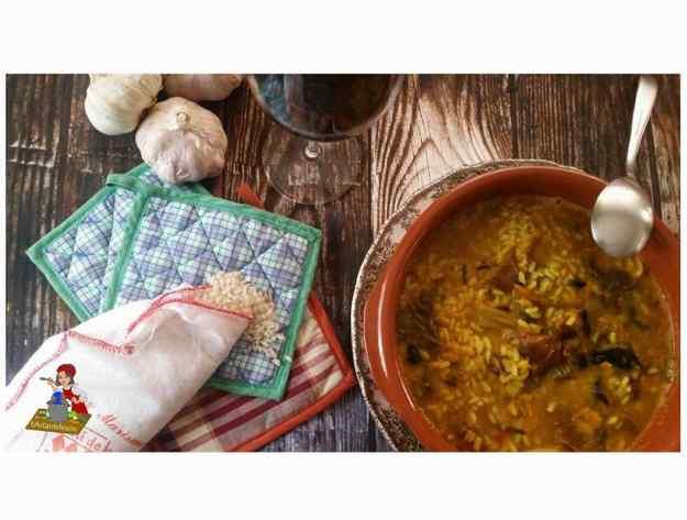 Arròs amb bledes, espinacs, bolets i lletsons