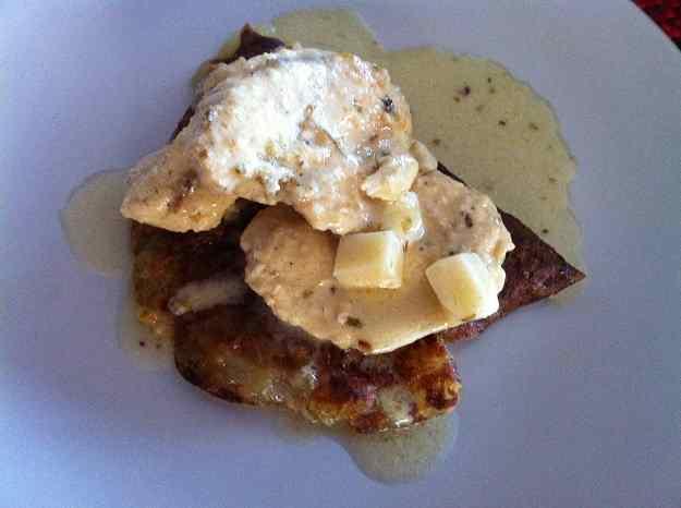 """Pollastre amb formatge i """"torta"""" de patates (92/135)"""