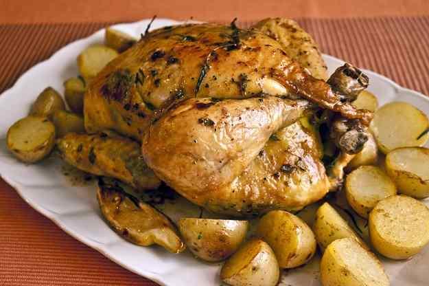 Pollastre al forn amb llimona i herbes