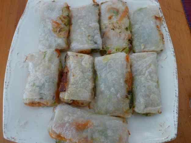 Rotllets de verdures amb pasta d'arròs